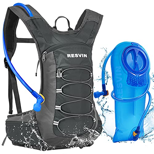 RESVIN Hydration Pack Backpack with 2L Water Bladder, 70 oz BPA Free Bladder Bag for Running, Hiking, Camping, Cycling, Climbing, Biking (Grey)