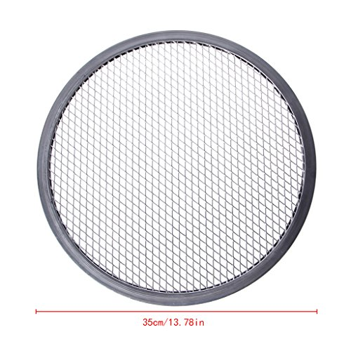 LANDUM Aluminium en Maille Filet à Pizza Grill écran Plat à Four Rond Net Ustensiles de Cuisine kit de Fours, Aluminium, Silver, 35,5 cm