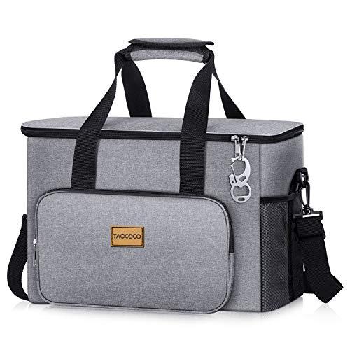 TAOCOCO Kühltasche 30L Picknicktasche faltbar Eistasche Mittagessen Isoliertasche Lunchtasche für Büro Camping, Beach Auto Outdoor Reisen (Grau)