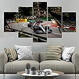 CGHBDOP Cuadro sobre Lienzo 5 Piezas Impresión Monaco GP Lewis Hamilton F1 Car 5 Piezas Tejido No Tejido Impresión Artística Imagen Gráfica Decoracion De Pared