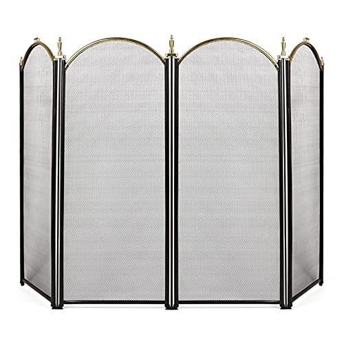 WXL Pantalla de Chimenea Interior Hierro Forjado Pantalla Grande Metal al Aire Libre Cubierta de Malla Decorativa Sólido Fuego de Fuego Cercado Diseño de Hoja de Acero Guardia de Chispa Caballillo