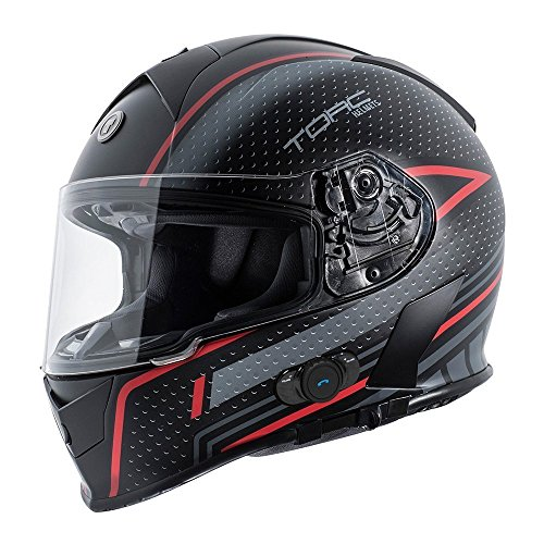 TORC T14B15SBR26 Full Face Mako - Casco Bluetooth (negro plano, rojo, XXL)