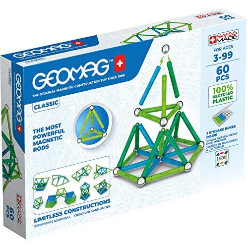 Geomag Color, Juego de Bloques de Construcción Magnéticos para Niños, Juguete Magnético, Colección Verde de Plástico 100% Reciclado, 60 piezas (272)