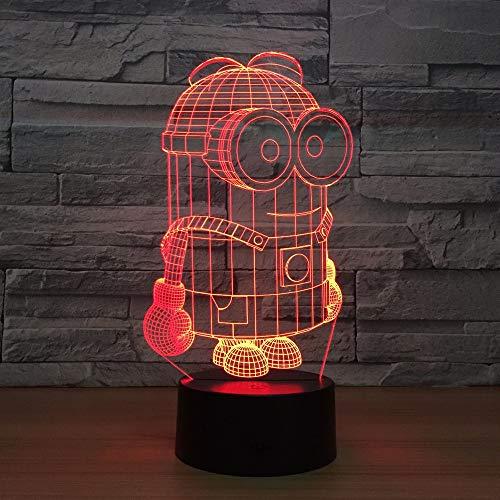 Solo 1 pieza de dibujos animados lindo 3D LED luz de noche escritorio lámpara de mesa interruptor táctil colorido para niño bebé nacimiento Christma regalo