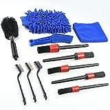 URAQT Cepillos Limpieza Coche, 12Pcs Kit de Lavado de Autos, Cepillo de Detalle, Limpieza de Rueda, Paño de Limpieza, para Limpieza del Interior & Exterior, y Llantas de Autos
