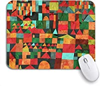 ROSECNY 可愛いマウスパッド グリーンペインティングタウン面白い赤抽象的なおとぎ話の建築パターンノンスリップラバーバッキングマウスパッドノートブックコンピュータマウスマット