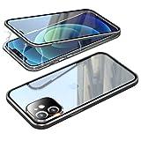 Funda para iPhone 12, funda magnética, 360 grados, antigolpes, marco de metal, transparente, cristal templado con protector de cámara, carcasa completa para iPhone 12 5G, color plateado