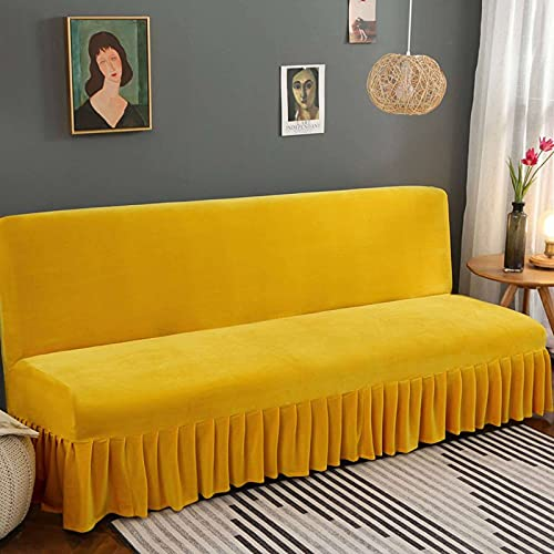 Funda De Sofa Sofa Cama, con Falda Sofá Sin Apoyabrazos Terciopelo Funda De Sofá Elástica De Color Liso Grueso Funda Cubre Sofá Apto Sala-M 150-170cm(60-66in)-Amarillo