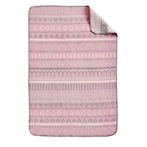 Ibena s.Oliver Ethno Kinderdecke 070x100 cm - Babydecke rosa mit süßem Muster, Reine Baumwolle, Markenqualität Made in Germany