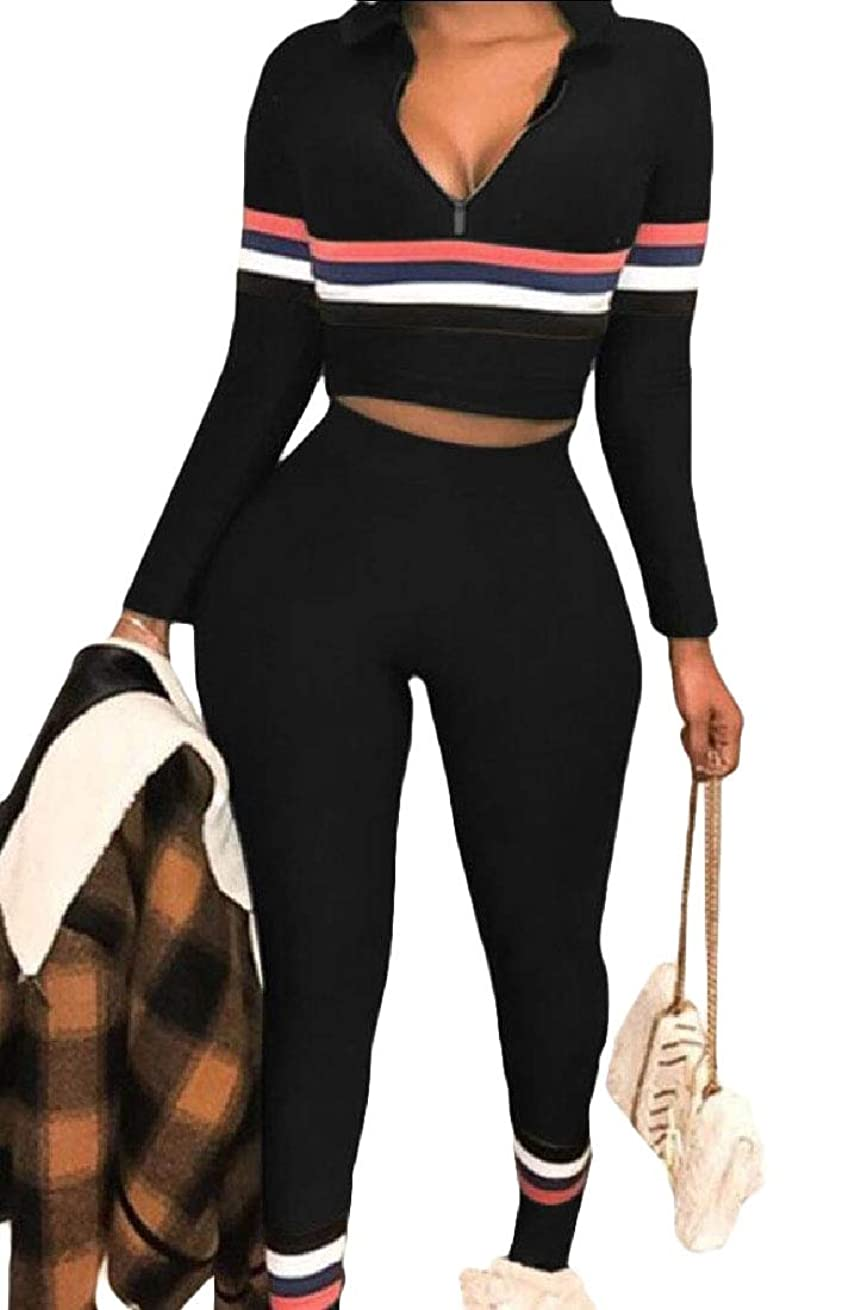 差別的着実に広まったWomen's 2 Piece Set Zipper Crop Tops and Skinny Long Pants Tracksuit