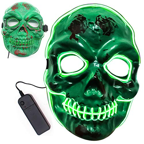 Oxsaytee LED Halloween Maske, LED Maske Beleuchtung Maske 3 Einstellbare Blitzmodi Horror Halloween Maske Cosplay Fasching Halloween Kostüm