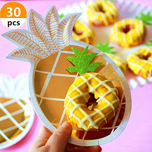 30 Pcs JeVenis Glitter Green Pineapple Cupcake Toppers Pineapple Donut Toppers for Hawaiian Luau Bridal Shower Tropical Summer Party Cake Decoration