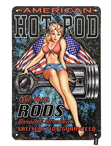 HOSNYE Hot Rod Pin Up Girl Tin Sign Young Sexy Woman Sit on Rods with American Flag Vintage Metal Tin Signs for Men Women Wall Art Decor for Home Bars Clubs Cafes 8x12 Inch