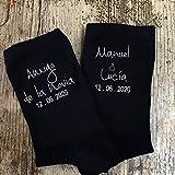 Didart Handmade Calcetines boda negro personalizados hombre para novio, padre del novio, padre de la novia, padrino, testigo, amigo de los novios. Modelo Nombres Completos.Hecho en España