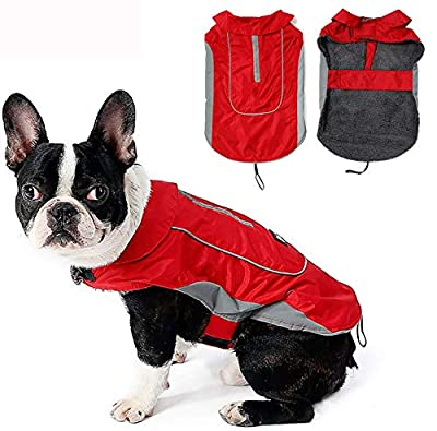 Morezi Dog Warm Coats Jackets Waterproof Coats with Harness Hole Puppy Coat for Small Medium Dogs - Red - M