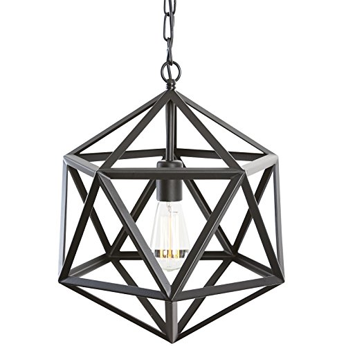 Light Society Geodesic Pendant Light, Matte Black, Geometric Vintage Modern Industrial Lighting Fixture (LS-C110)