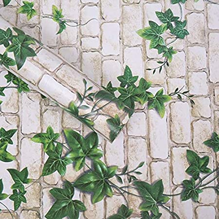 WOW Interiors PVC Peel and Stick, Self Adhesive White Brick and Green Leaf Wallpaper, 400 x 45 cm, Multicolor (4K_BZ1001)