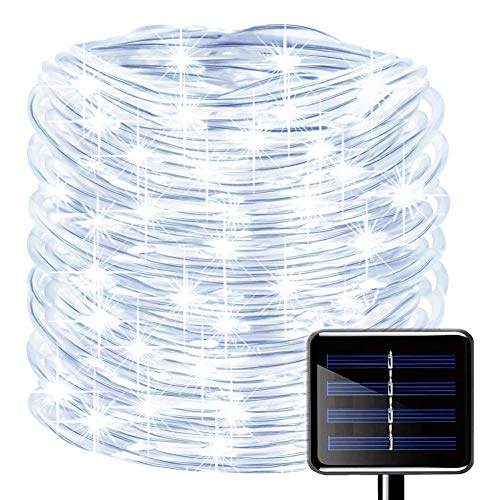 picK-me Luces de Cuerda Solar, Impermeable al Aire Libre 200 LED 66 FT / 20 M, Luces de hadas, Tubo de Luz de PVC para La Fiesta de Boda del Arbol de La Cerca del Jardín (Blanco, 20M)