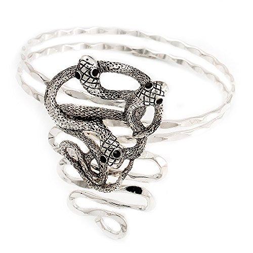 Armreif für den Oberarm, rhodiniert, Schlangenknoten-Design