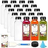 SUPERLELE 20pcs 12oz Empty Plastic Juice Bottles with Caps, Reusable Clear Bulk...