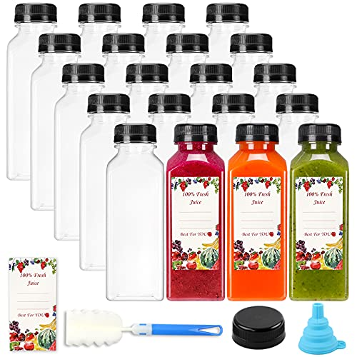 SUPERLELE 20pcs 12oz Empty Plastic Juice Bottles with caps, Reusable Clear Bulk Beverage Containers with Black Tamper Evident Lids for Juice, Milk and Other Beverages
