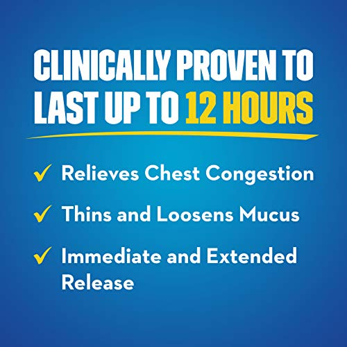 Mucinex Chest Congestion Maximum Strength 12 Hour Extended Release Tablets Relieves Chest Congestion Caused by Excess Mucus(#1 Doctor Recommended OTC expectorant), 1200mg, 42 Count (Pack of 1)