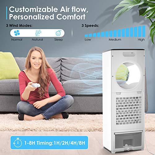Mobile Klimaanlage 4 in 1 Aircooler Luftkühler Ventilator Luftreiniger Luftbefeuchter 8h Timer | 3 Modi | 3 Stufen | Oszillierend | Mobile Klimagerät Mit Fernbedienung - 5