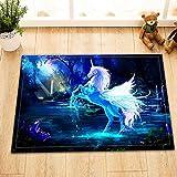 Unicornio de Halloween con alas Alfombrillas de baño, felpudos, Antideslizantes y fáciles de Limpiar, imprescindibles del hogar40x60cm