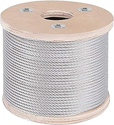 OASD 7x19 T304 Stainless Steel Cable Wire Rope 3/16Inch 500ft Marine Grade Type for Decking Railing, Deck Handrails, DIY Balustrade, Aircraft, Light Hanging, Fishing, Zipline,4500lb Breaking Strength