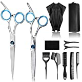 Professional Hair Cutting Scissors kit, Liaboe 12 Pcs Hairdressing Scissors Set, Hair Cutting Scissors, Thinning Shears, Hair Razor Comb, 3 x Comb, Leather Bag, Clips, Cape, Shears Kit for Home Salon