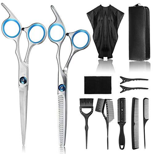 Liaboe 12Pcs Tijeras de peluquería, Tijeras Peluqueria Profesional con Capa de Barbero, Peine, Clip y Bolsa de Almacenamiento para Hogar, Eluquería, Salón.