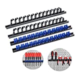 3-H 4 Stück Schraubendreher-Organizer und Schraubenschlüssel, Organizer, Handwerkzeug-Halter, Werkzeughalter/Klammer-Leisten-Set - Inkl. Schrauben und Dübel (2 schwarz 2 Blau)