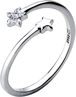 Double Stars Crystal Statement Ring Sterling Silver Adjustable CZ Wrap Eternity Wedding Rings Band for Women Girls