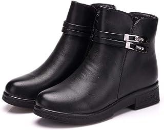 [GoldFlame-JP] ショートブーツ レディース 婦人靴 ブーツ 裏起毛 厚底靴 あったか 保温 滑らない レザー素材 サイドジップ 雪対応 ムトンブーツ 大きいサイズ ブラック ブーツ シニアブーツ 25.5cm 黒