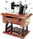 LINGSFIRE Caja de música de Madera Máquina de Coser, Regalo para Esposa, Manivela de Mano, Caja de música Antigua, Tallada Vintage, Caja de Música Creativa para tu Querida Esposa