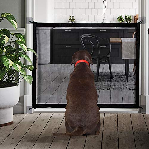 QUV Magic Gate for Dog, Portable Folding Mesh Dog Gate, Safety Guard for Pet, Safety Fence Fits Spaces Between 32IN to 39IN Wide