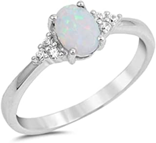 Oval Lab Created White Opal & Round Cubic Zirconia .925 Sterling Silver Ring Sizes 4-11