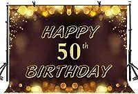 新しい7x5ftハッピー50歳の誕生日の背景ゴールドキラキラ写真の背景50歳の誕生日パーティーのバナー装飾写真ブースの小道具536