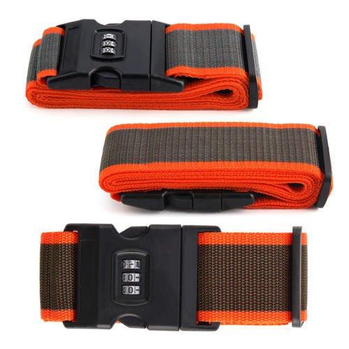 4m ADJUSTABLE NYLON LUGGAGE SUITCASE STRAP WITH COMBINATION LOCK STRONG STRAP PASSCODE (Orange/Grey)