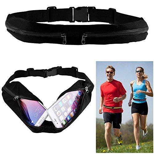 REY Riñonera Deportiva Negra Doble, Bolsa con 2 Cremalleras, Cintura Cadera Cinturón Cangurera Running Sport Footing, Negro