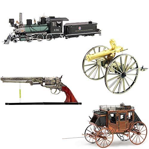 Metalearth Maquetas Metal 3D para Montar Pack Wild West 4 Modelos- Revolver-Diligencia- Pistola Gatling- 2-6-0 Locomotora- Fascinations
