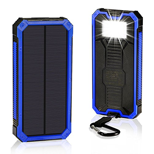 Solar Charger 30,000mAh, Solarprous Portable Dual USB Solar Battery Charger External Battery Pack Phone Charger Power Bank with Flashlight for Smartphones Tablet Camera (Blue)