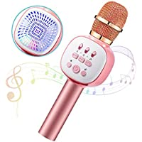 Anyoug 5 in 1 Portable Car Karaoke Microphone Speaker with LED Lights