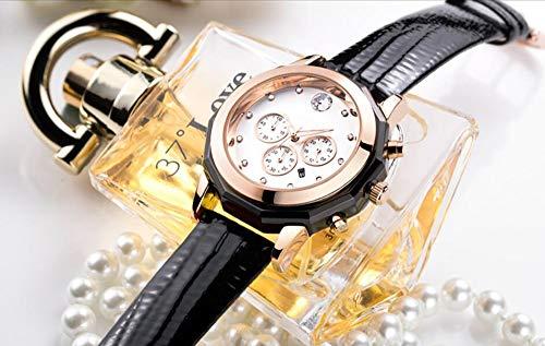 Voigoo Original Frau Chronograph Quarz-Armbanduhr-24-Stunden-Datumsanzeige wasserdichte Uhr-beiläufige Art und Weise Leder-Dame-Uhr
