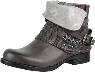Damen Stiefeletten Leicht Gefütterte Biker Boots Schnallen 835506 Schuhe