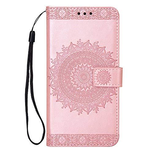 Coque LG G7, SONWO Gaufrage Mandala Motif Housse Cuir PU Flip Portefeuille Etui avec Portable Dragonne et Carte de Crédit Slot pour LG G7, Rose