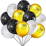 45 Globos de Látex de Fiesta de Cumpleaños de 12 Pulgadas Decoración de Fiesta de Cincuenta Aniversario Globo de Fiesta 50 Temática de Oro Blanco y Negro para Fiesta de Cumpleaños