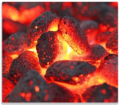 Herdabdeckplatte / Spitzschutz aus Glas, 1-teilig, 60x52cm, für Ceran- und Induktionsherde, Glühende Kohlen im Kamin