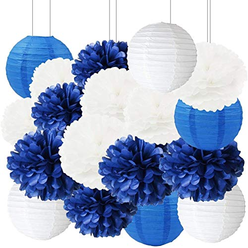 Furuix Navy Bridal Shower Decorations 18pcs White Navy Blue Tissue Paper Pom Pom Paper Lanterns for Navy Blue Wedding/Birthday Party Decorations Baby Shower Decoration