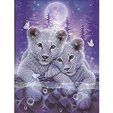 LANSUER Kit de broderie diamant 5D à faire soi-même par numéros, kit de broderie diamant rond pour maison, décoration murale et tigres blancs 30 x 39,9 cm
